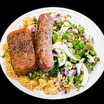 Democracy lamb sausages with black pepper Spam, fennel salad and quinoa couscous