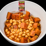Baked beans, Worcestershire sauce,  and Spam