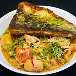 Salmon with Jalape�o Spam and prawn curry