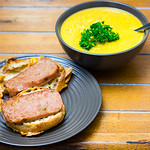 Baked Jalape�o spam and cheesy English muffin with pumpkin soup