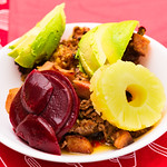 Beef with pineapple, beetroot and avocado