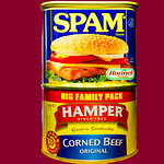 Tinned corned beef and spam